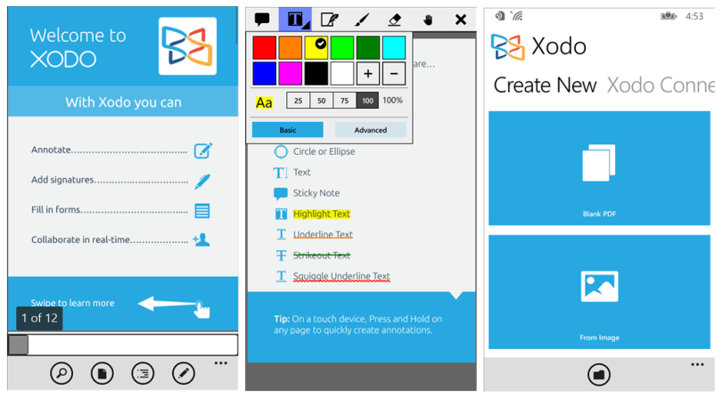 Three screenshots of Xodo PDF Reader and Annotator for Windows Phone
